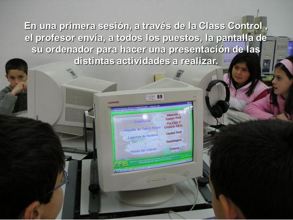 En una primera sesión, a través de la Class Control, el profesor envía, a todos los puestos, la pantalla de su ordenador para hacer una presentación d