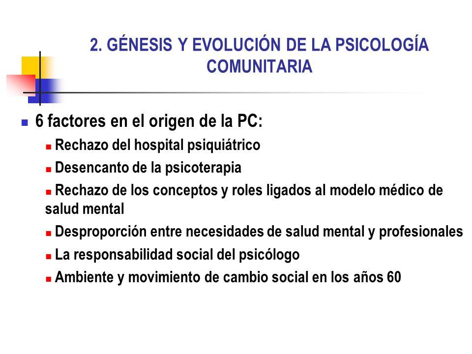 2. GÉNESIS Y EVOLUCIÓN DE LA PSICOLOGÍA COMUNITARIA 6 factores en el origen de la PC: Rechazo del hospital psiquiátrico Desencanto de la psicoterapia