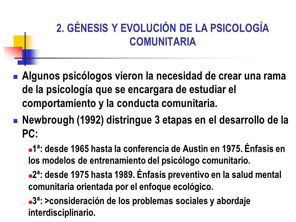 2. GÉNESIS Y EVOLUCIÓN DE LA PSICOLOGÍA COMUNITARIA Algunos psicólogos vieron la necesidad de crear una rama de la psicología que se encargara de estu