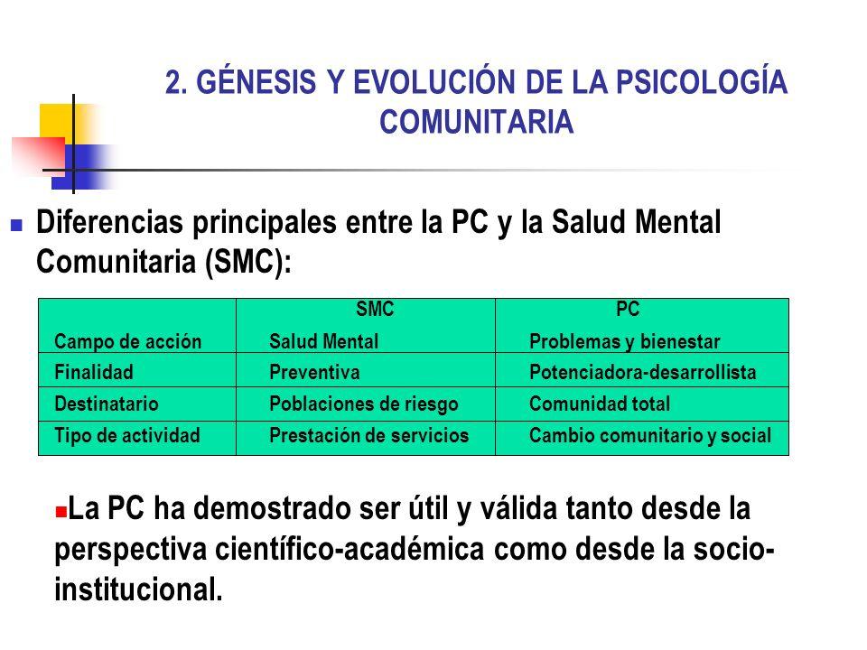 2. GÉNESIS Y EVOLUCIÓN DE LA PSICOLOGÍA COMUNITARIA Diferencias principales entre la PC y la Salud Mental Comunitaria (SMC): SMCPC Campo de acciónSalu