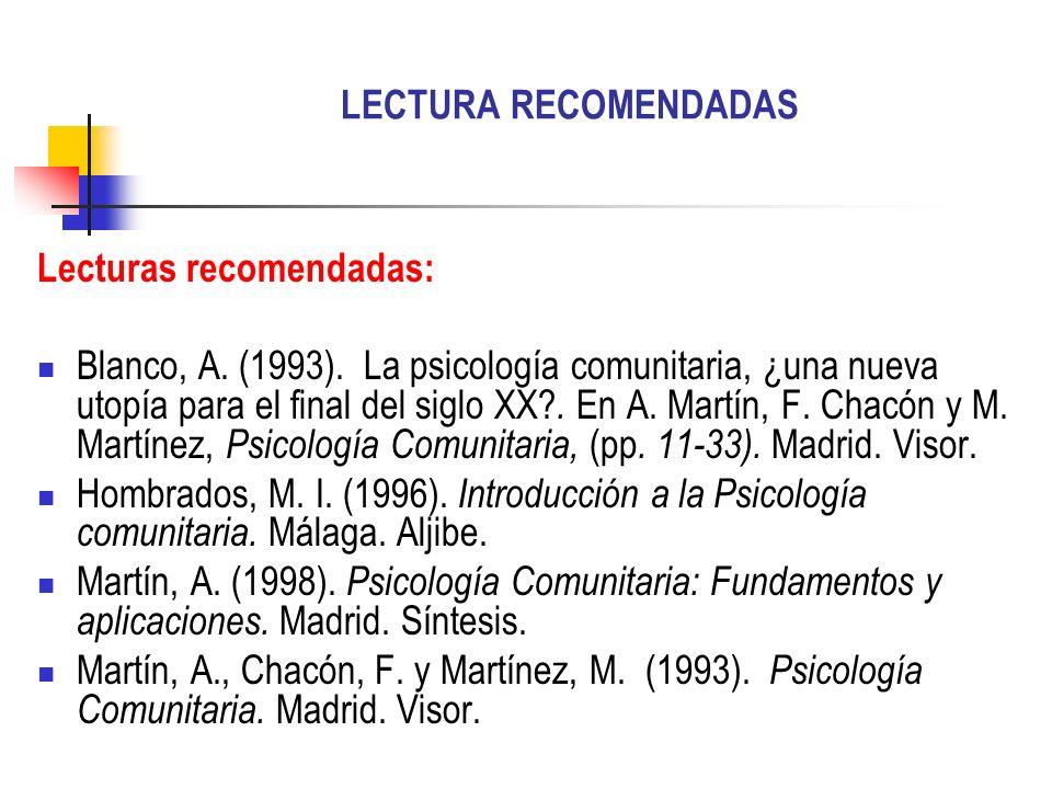LECTURA RECOMENDADAS Lecturas recomendadas: Blanco, A. (1993). La psicología comunitaria, ¿una nueva utopía para el final del siglo XX?. En A. Martín,