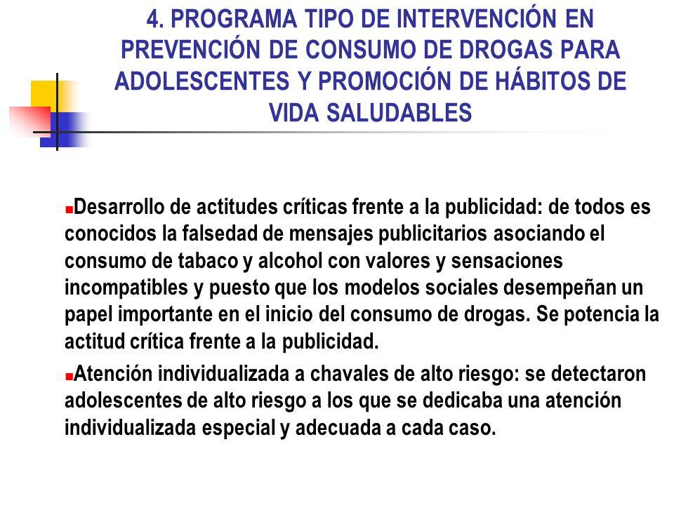4. PROGRAMA TIPO DE INTERVENCIÓN EN PREVENCIÓN DE CONSUMO DE DROGAS PARA ADOLESCENTES Y PROMOCIÓN DE HÁBITOS DE VIDA SALUDABLES Desarrollo de actitude