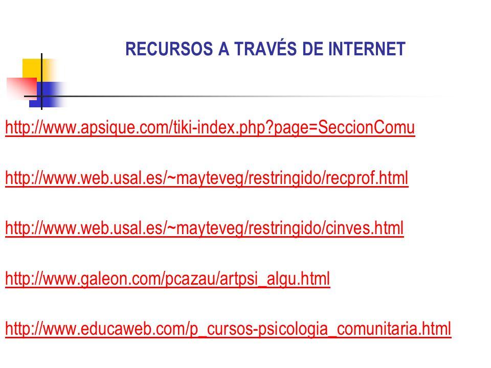 RECURSOS A TRAVÉS DE INTERNET http://www.apsique.com/tiki-index.php?page=SeccionComu http://www.web.usal.es/~mayteveg/restringido/recprof.html http://
