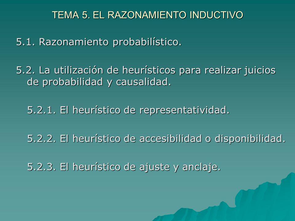 TEMA 5. EL RAZONAMIENTO INDUCTIVO 5.1. Razonamiento probabilístico. 5.2. La utilización de heurísticos para realizar juicios de probabilidad y causali