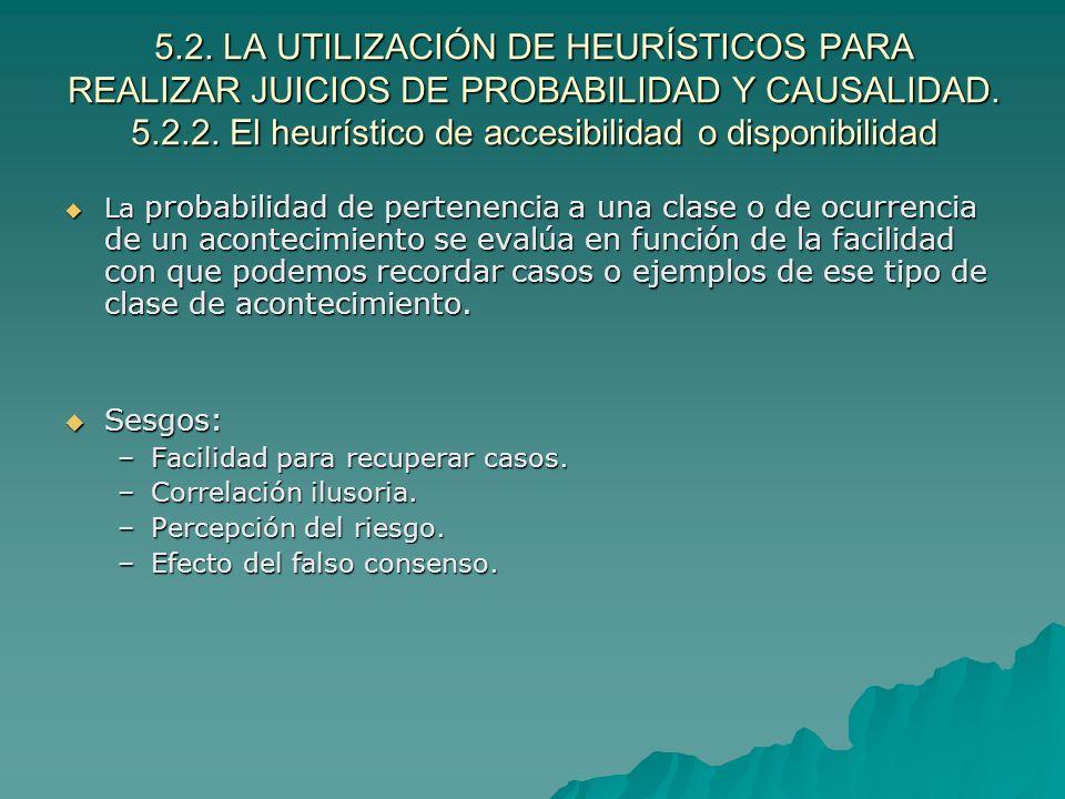 5.2. LA UTILIZACIÓN DE HEURÍSTICOS PARA REALIZAR JUICIOS DE PROBABILIDAD Y CAUSALIDAD. 5.2.2. El heurístico de accesibilidad o disponibilidad La proba