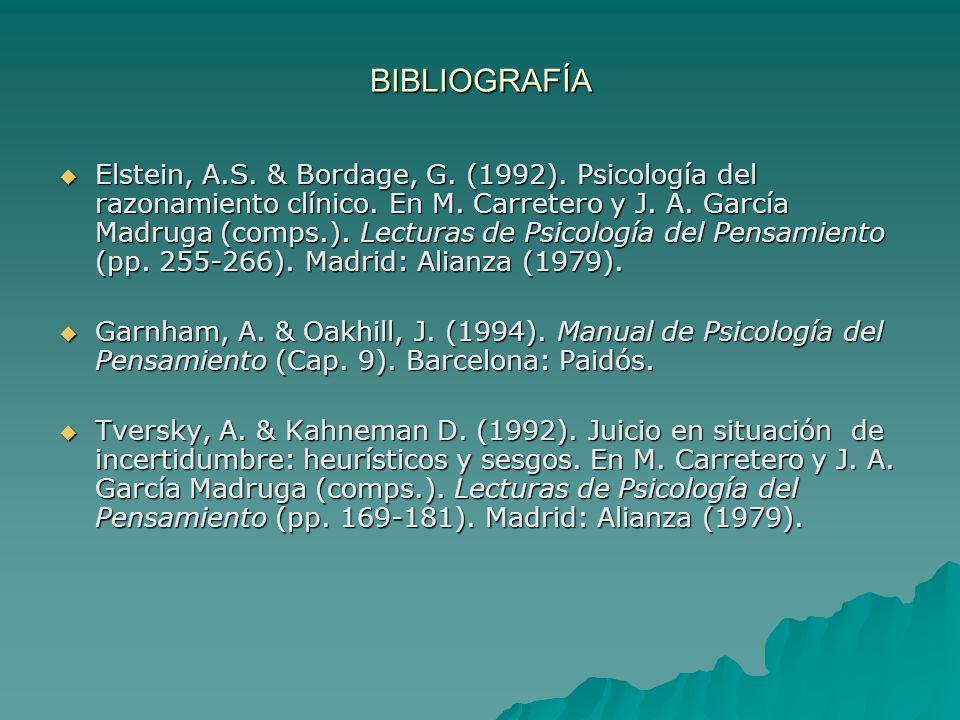 BIBLIOGRAFÍA Elstein, A.S. & Bordage, G. (1992). Psicología del razonamiento clínico. En M. Carretero y J. A. García Madruga (comps.). Lecturas de Psi