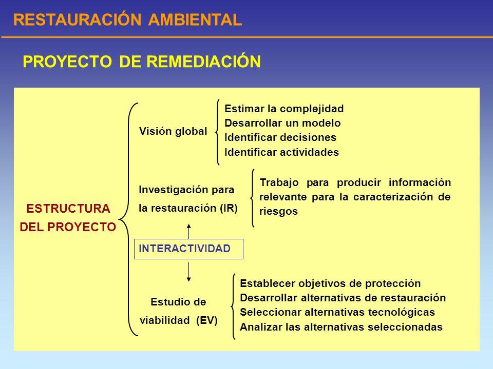 RESTAURACIÓN AMBIENTAL PROYECTO DE REMEDIACIÓN ESTUDIO DE VIABILIDAD Establecimiento de los objetivos de protección Metas preliminares de restauración (MPR) Desarrollo y selección preliminar de alternativas Unidades de operación (UO) Objetivos.- cumplir los RARA y disminuir los riesgos Ecuaciones Parámetros Definiciones