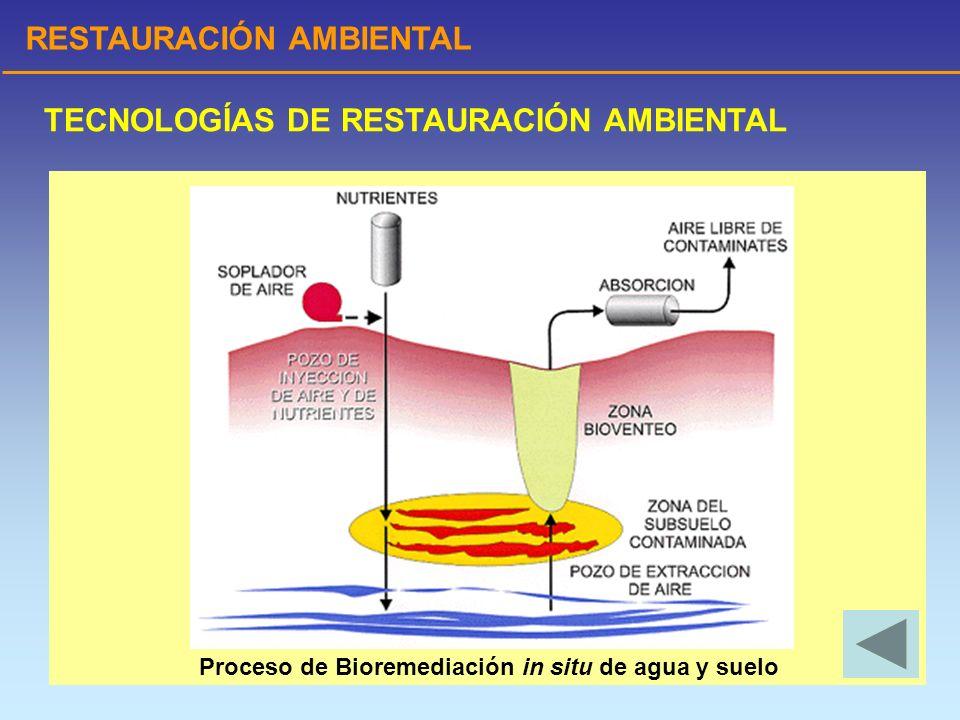 RESTAURACIÓN AMBIENTAL TECNOLOGÍAS DE RESTAURACIÓN AMBIENTAL Proceso de Bioremediación in situ de agua y suelo