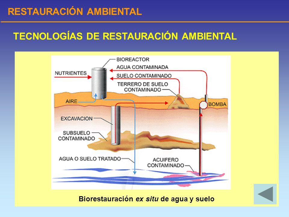 RESTAURACIÓN AMBIENTAL TECNOLOGÍAS DE RESTAURACIÓN AMBIENTAL Biorestauración ex situ de agua y suelo