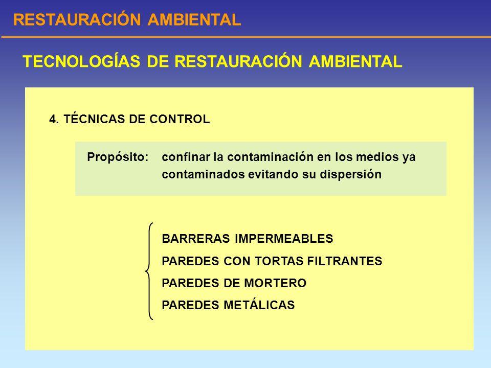 RESTAURACIÓN AMBIENTAL TECNOLOGÍAS DE RESTAURACIÓN AMBIENTAL 4. TÉCNICAS DE CONTROL BARRERAS IMPERMEABLES PAREDES CON TORTAS FILTRANTES PAREDES DE MOR