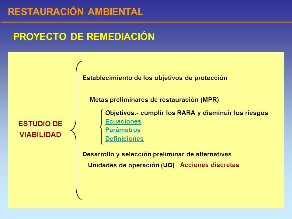 RESTAURACIÓN AMBIENTAL PROYECTO DE REMEDIACIÓN ESTUDIO DE VIABILIDAD Establecimiento de los objetivos de protección Metas preliminares de restauración