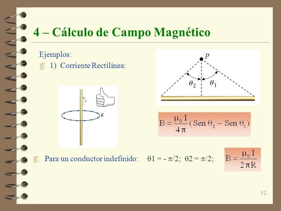 12 4 – Cálculo de Campo Magnético Ejemplos: 4 1) Corriente Rectilínea: 4 Para un conductor indefinido: 1 = - /2; 2 = /2;