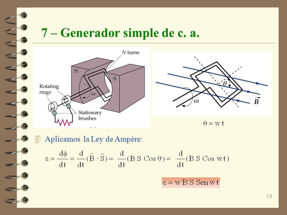 18 7 – Generador simple de c. a. 4 Aplicamos la Ley de Ampère: