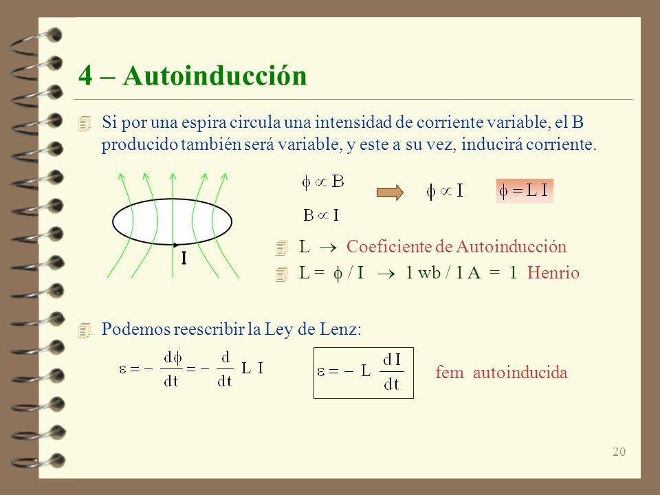 20 4 – Autoinducción 4 Si por una espira circula una intensidad de corriente variable, el B producido también será variable, y este a su vez, inducirá