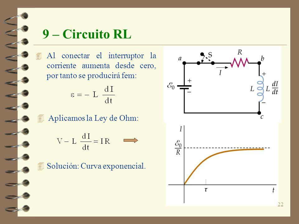 22 9 – Circuito RL 4 Al conectar el interruptor la corriente aumenta desde cero, por tanto se producirá fem: 4 Aplicamos la Ley de Ohm: 4 Solución: Cu