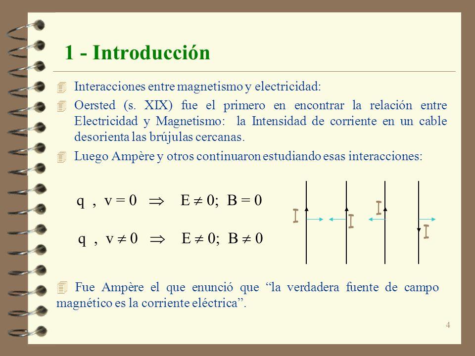 4 1 - Introducción 4 Interacciones entre magnetismo y electricidad: 4 Oersted (s. XIX) fue el primero en encontrar la relación entre Electricidad y Ma