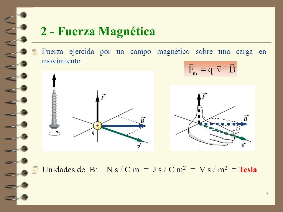 6 2 - Fuerza Magnética 4 Si añadimos un campo eléctrico, también se ejercerá fuerza eléctrica, aunque la carga esté en movimiento, Ley de Lorentz: 4 Definimos también el Flujo Magnético: 4 PROPIEDADES: 1) La fuerza magnética es nula si: v = 0 ó v    B 4 Unidades: m 2 V s / m 2 = V s = Weber 2) La fuerza magnética es siempre perpendicular a: v, B y, por tanto, también a la Trayectoria.