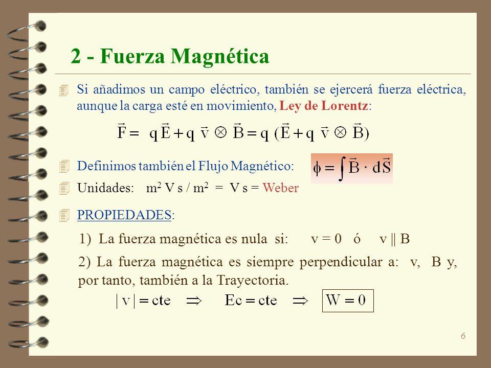 6 2 - Fuerza Magnética 4 Si añadimos un campo eléctrico, también se ejercerá fuerza eléctrica, aunque la carga esté en movimiento, Ley de Lorentz: 4 D