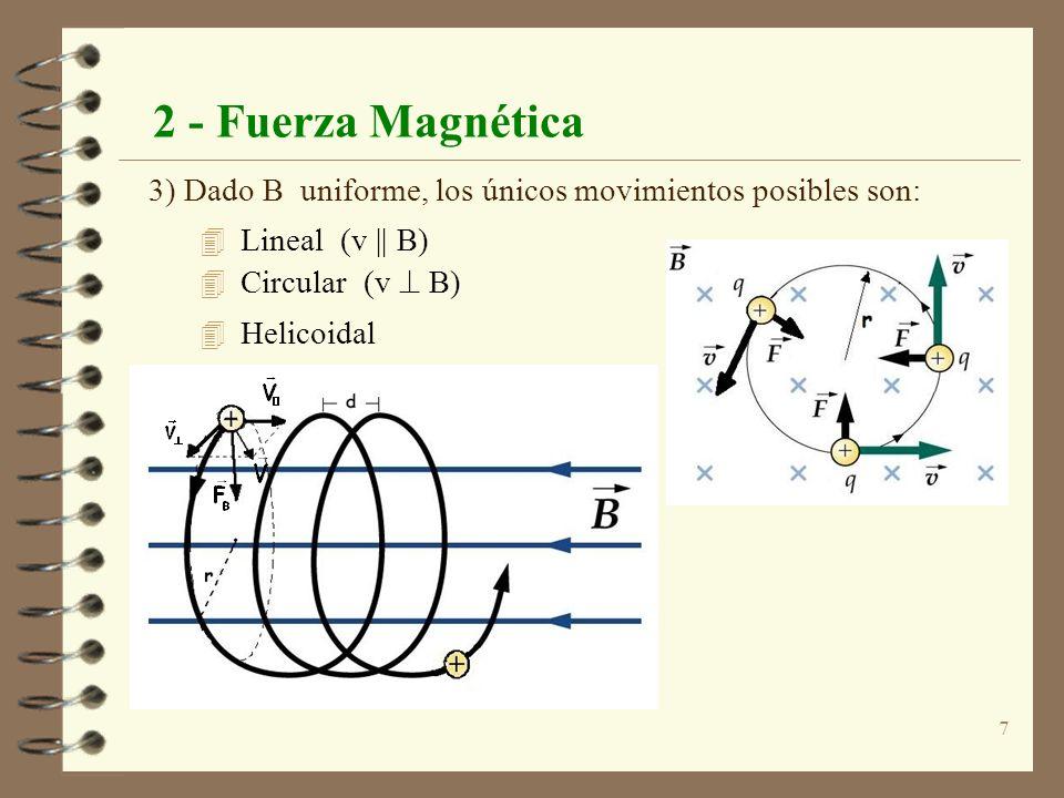 8 2 - Fuerza Magnética 4 En el caso de movimiento circular son iguales la fuerza centrifuga y la eléctrica: F elec = F mag q v B = m v 2 /m 4 Aplicaciones: espectrómetro de masas, aceleradores.