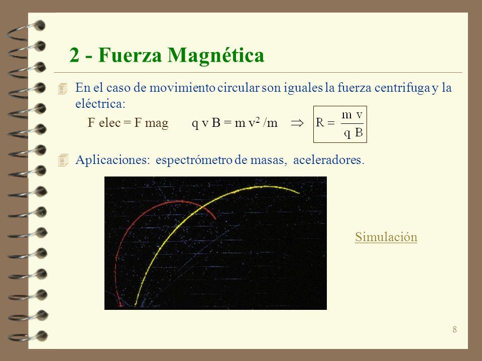 8 2 - Fuerza Magnética 4 En el caso de movimiento circular son iguales la fuerza centrifuga y la eléctrica: F elec = F mag q v B = m v 2 /m 4 Aplicaci