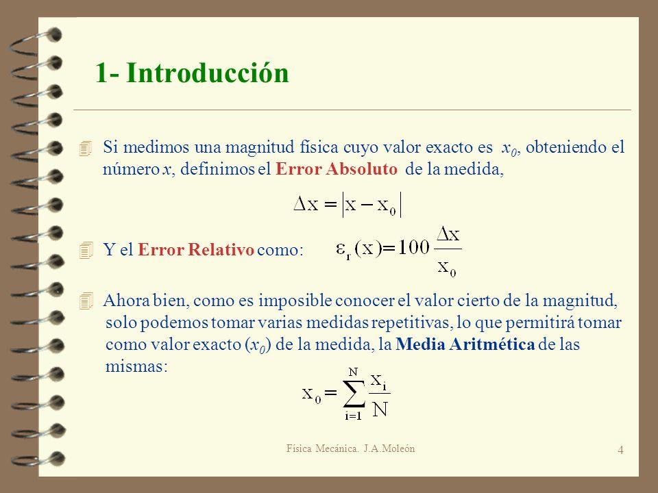 Física Mecánica. J.A.Moleón 4 1- Introducción 4 Si medimos una magnitud física cuyo valor exacto es x 0, obteniendo el número x, definimos el Error Ab