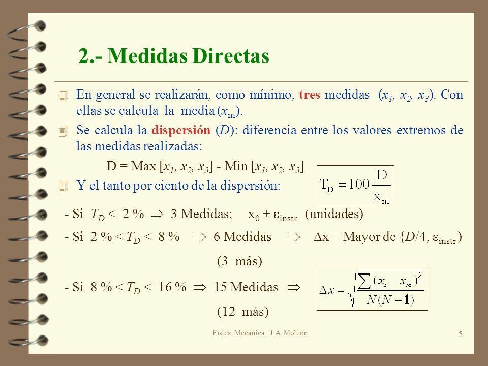 Física Mecánica. J.A.Moleón 5 2.- Medidas Directas 4 En general se realizarán, como mínimo, tres medidas (x 1, x 2, x 3 ). Con ellas se calcula la med