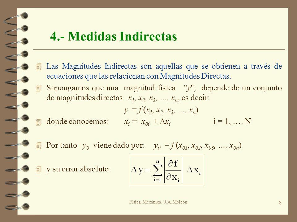 Física Mecánica. J.A.Moleón 8 4.- Medidas Indirectas 4 Las Magnitudes Indirectas son aquellas que se obtienen a través de ecuaciones que las relaciona