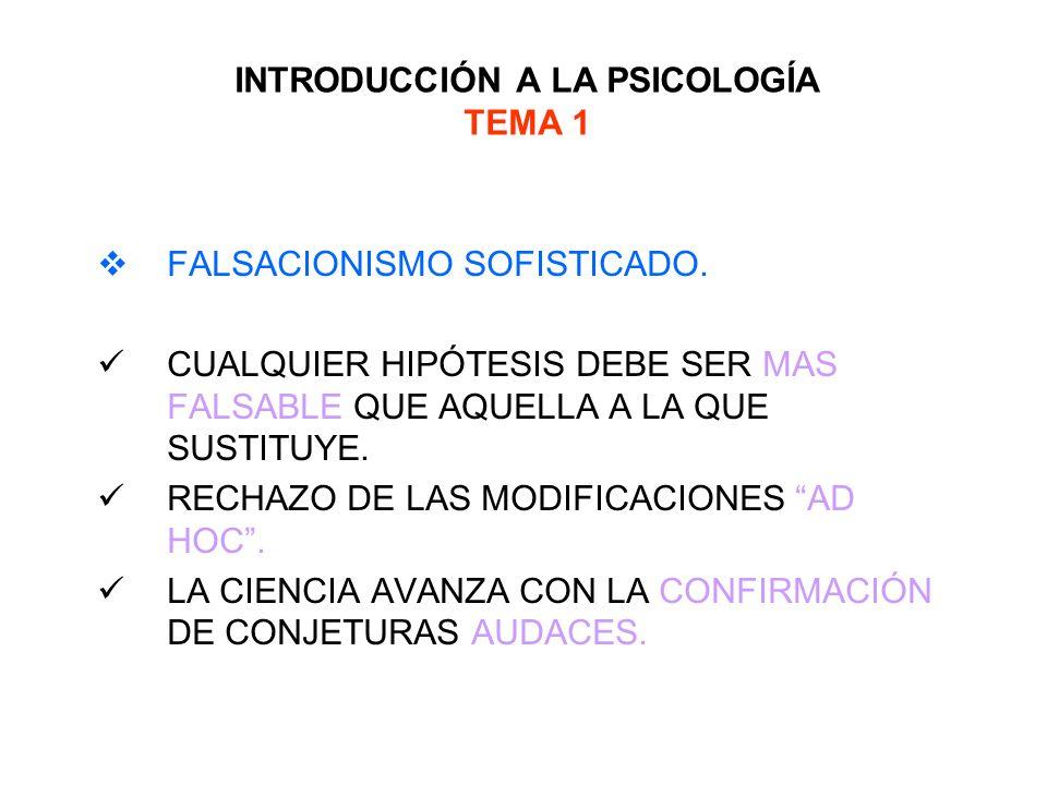 INTRODUCCIÓN A LA PSICOLOGÍA TEMA 1 FALSACIONISMO SOFISTICADO. CUALQUIER HIPÓTESIS DEBE SER MAS FALSABLE QUE AQUELLA A LA QUE SUSTITUYE. RECHAZO DE LA