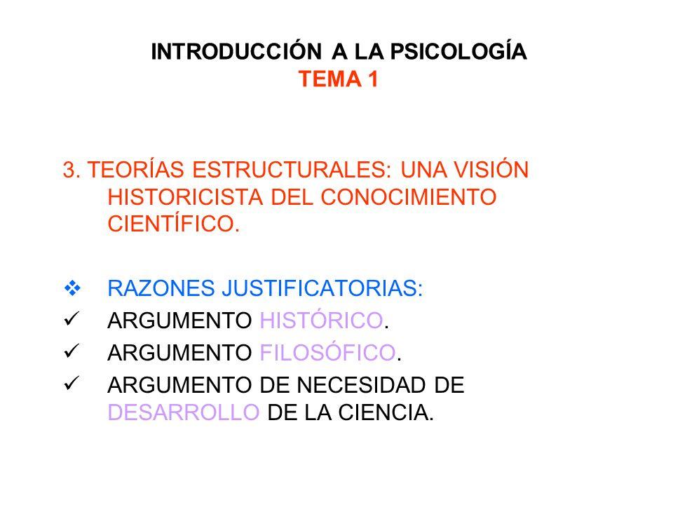 INTRODUCCIÓN A LA PSICOLOGÍA TEMA 1 3. TEORÍAS ESTRUCTURALES: UNA VISIÓN HISTORICISTA DEL CONOCIMIENTO CIENTÍFICO. RAZONES JUSTIFICATORIAS: ARGUMENTO
