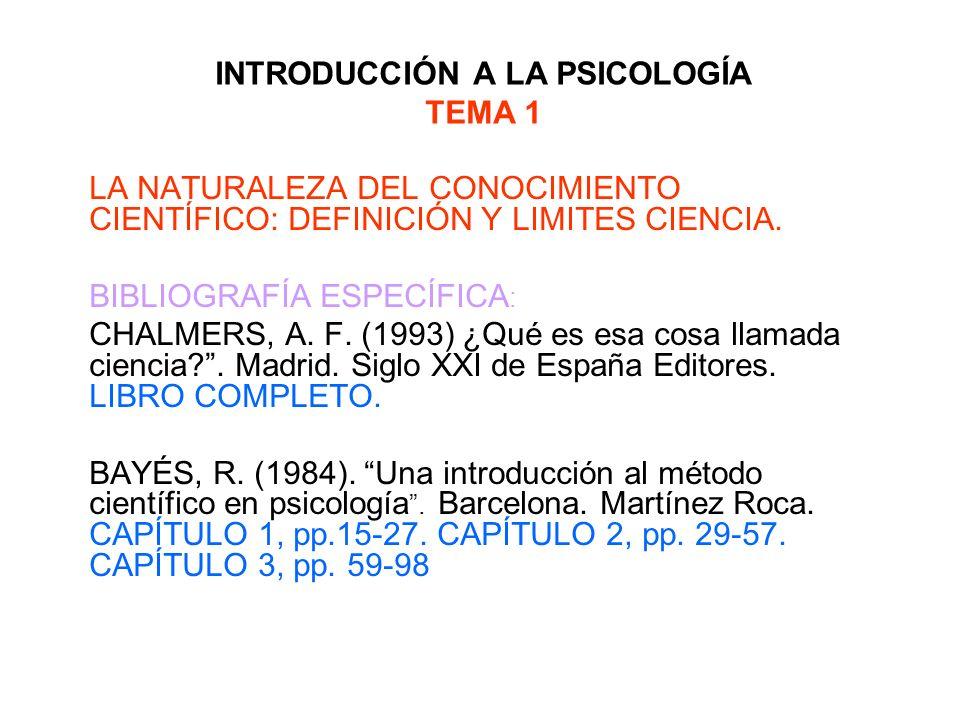 INTRODUCCIÓN A LA PSICOLOGÍA TEMA 1 LA NATURALEZA DEL CONOCIMIENTO CIENTÍFICO: DEFINICIÓN Y LIMITES CIENCIA. BIBLIOGRAFÍA ESPECÍFICA : CHALMERS, A. F.