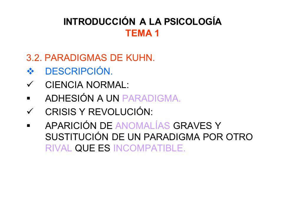 INTRODUCCIÓN A LA PSICOLOGÍA TEMA 1 3.2. PARADIGMAS DE KUHN. DESCRIPCIÓN. CIENCIA NORMAL: ADHESIÓN A UN PARADIGMA. CRISIS Y REVOLUCIÓN: APARICIÓN DE A