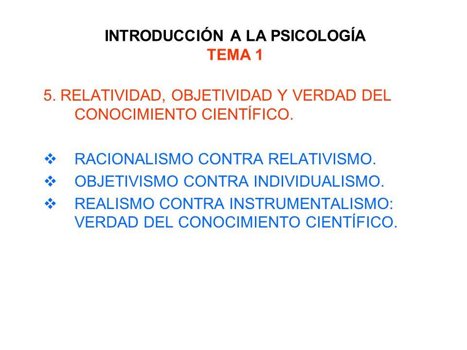 INTRODUCCIÓN A LA PSICOLOGÍA TEMA 1 5. RELATIVIDAD, OBJETIVIDAD Y VERDAD DEL CONOCIMIENTO CIENTÍFICO. RACIONALISMO CONTRA RELATIVISMO. OBJETIVISMO CON