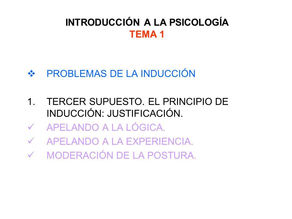 INTRODUCCIÓN A LA PSICOLOGÍA TEMA 1 PROBLEMAS DE LA INDUCCIÓN 1.TERCER SUPUESTO. EL PRINCIPIO DE INDUCCIÓN: JUSTIFICACIÓN. APELANDO A LA LÓGICA. APELA