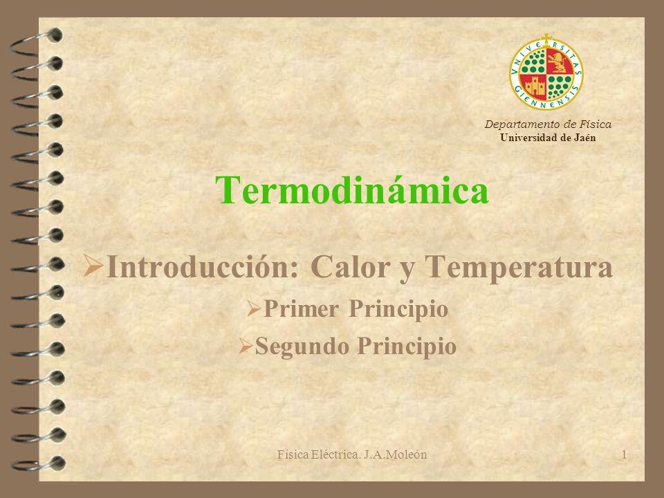 Física Eléctrica. J.A.Moleón1 Termodinámica Ø Introducción: Calor y Temperatura Ø Primer Principio Ø Segundo Principio Departamento de Física Universi