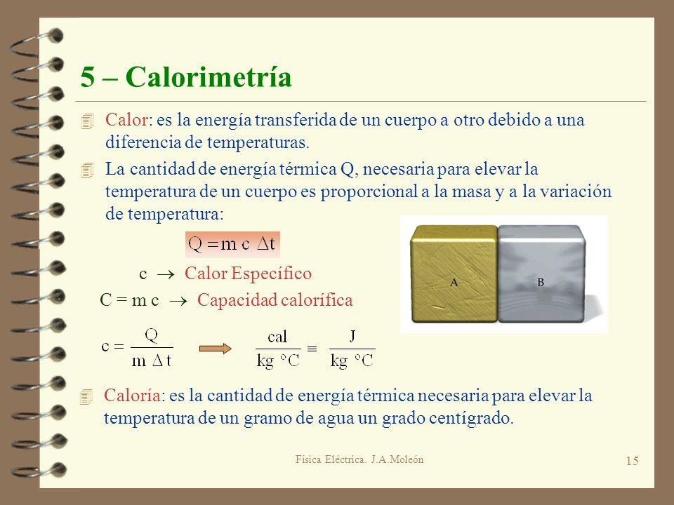 Física Eléctrica. J.A.Moleón 15 5 – Calorimetría 4 Calor: es la energía transferida de un cuerpo a otro debido a una diferencia de temperaturas. 4 La