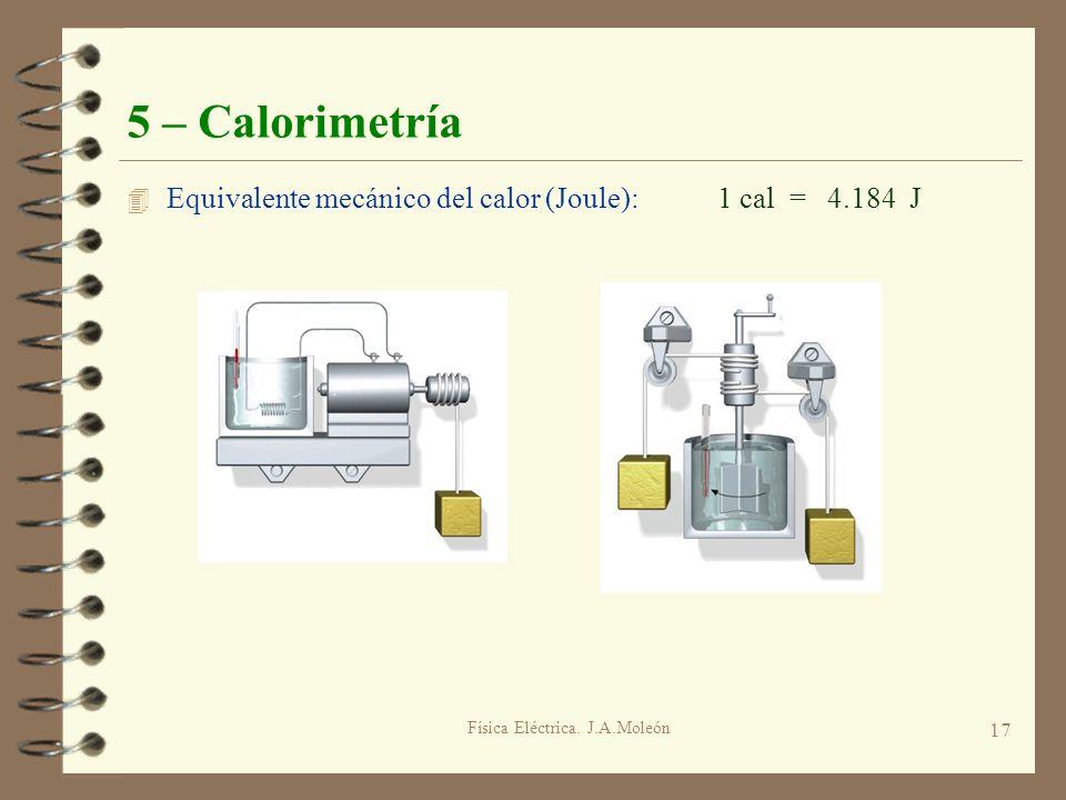 Física Eléctrica. J.A.Moleón 17 5 – Calorimetría 4 Equivalente mecánico del calor (Joule): 1 cal = 4.184 J