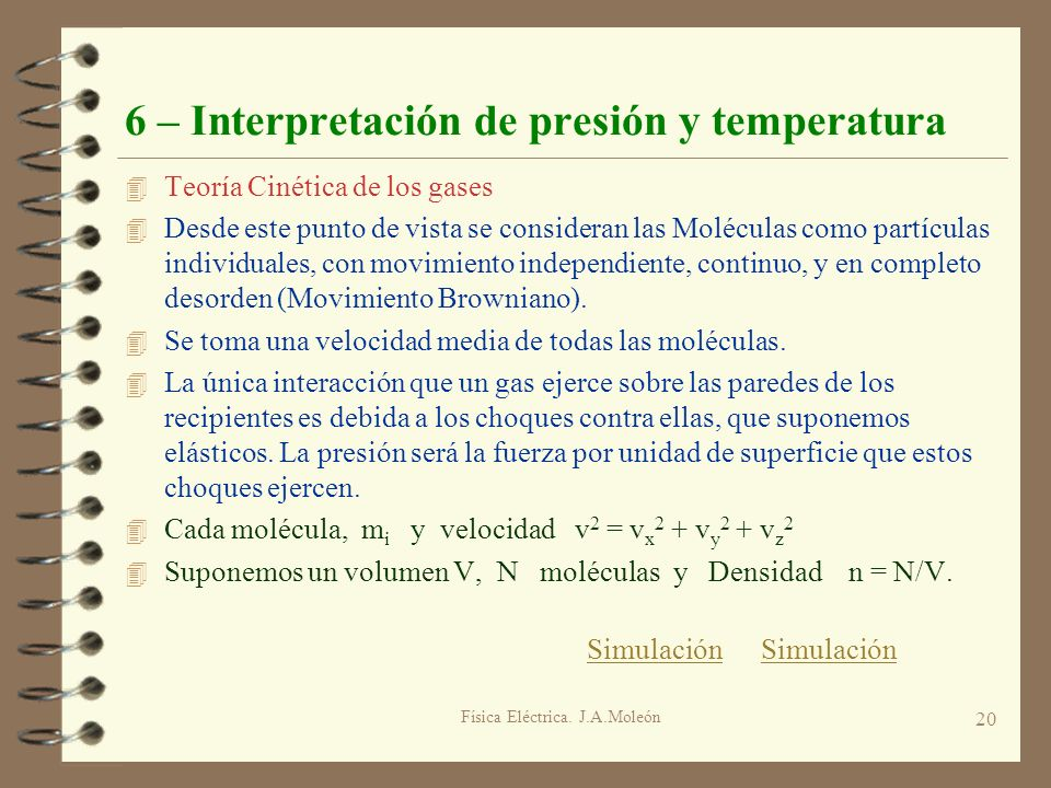 Física Eléctrica. J.A.Moleón 20 6 – Interpretación de presión y temperatura 4 Teoría Cinética de los gases 4 Desde este punto de vista se consideran l