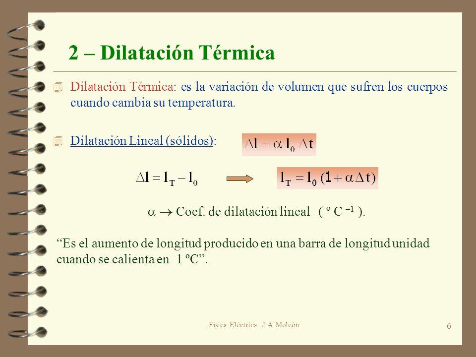 Física Eléctrica. J.A.Moleón 6 2 – Dilatación Térmica 4 Dilatación Térmica: es la variación de volumen que sufren los cuerpos cuando cambia su tempera