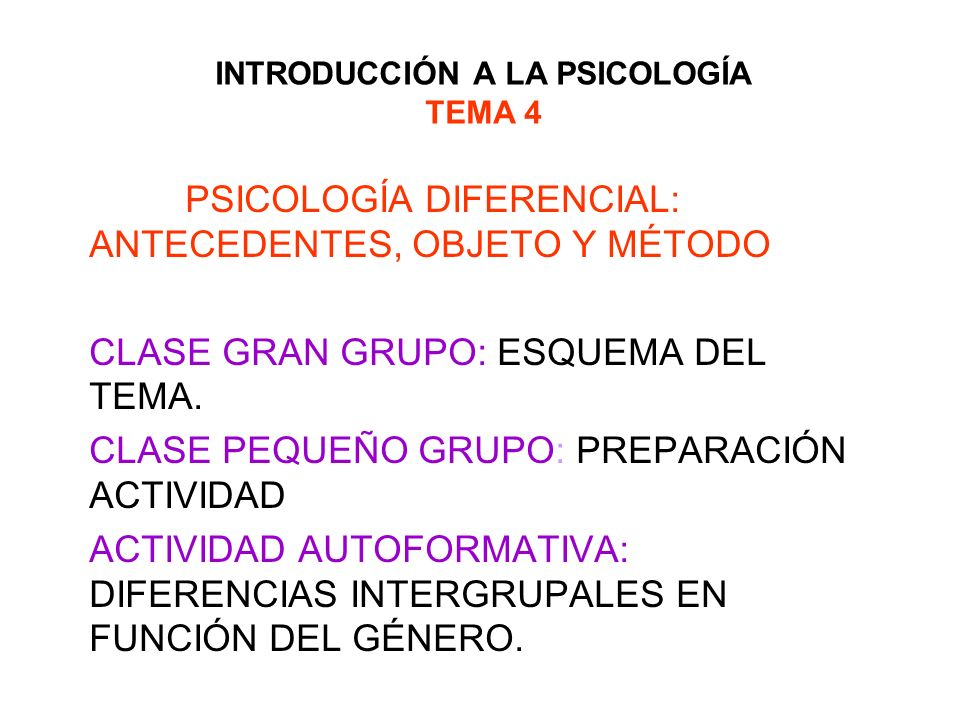 INTRODUCCIÓN A LA PSICOLOGÍA TEMA 4 PSICOLOGÍA DIFERENCIAL: ANTECEDENTES, OBJETO Y MÉTODO CLASE GRAN GRUPO: ESQUEMA DEL TEMA. CLASE PEQUEÑO GRUPO: PRE