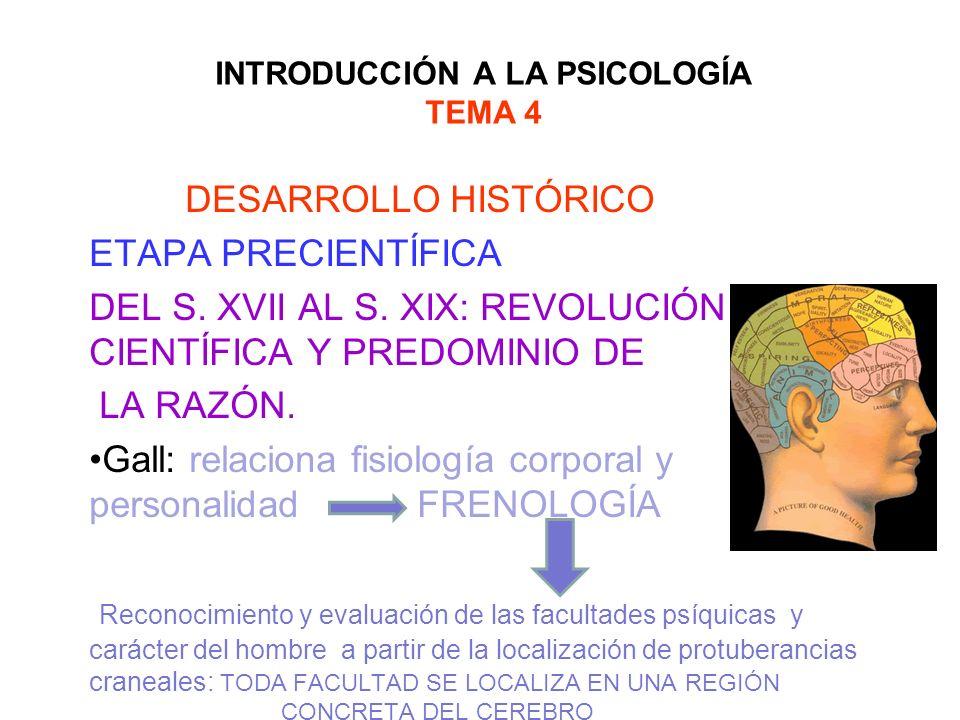 INTRODUCCIÓN A LA PSICOLOGÍA TEMA 4 DESARROLLO HISTÓRICO ETAPA PRECIENTÍFICA DEL S. XVII AL S. XIX: REVOLUCIÓN CIENTÍFICA Y PREDOMINIO DE LA RAZÓN. Ga