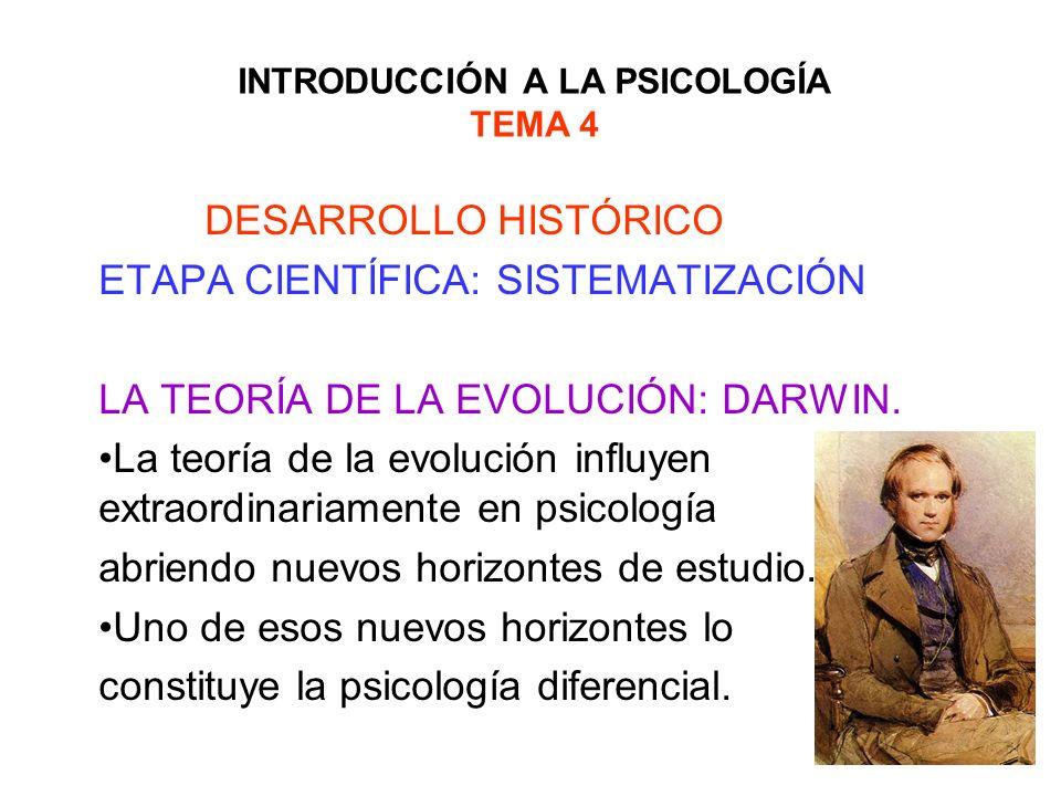 INTRODUCCIÓN A LA PSICOLOGÍA TEMA 4 DESARROLLO HISTÓRICO ETAPA CIENTÍFICA: SISTEMATIZACIÓN LA TEORÍA DE LA EVOLUCIÓN: DARWIN. La teoría de la evolució