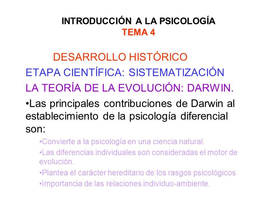 INTRODUCCIÓN A LA PSICOLOGÍA TEMA 4 DESARROLLO HISTÓRICO ETAPA CIENTÍFICA: SISTEMATIZACIÓN LA TEORÍA DE LA EVOLUCIÓN: DARWIN. Las principales contribu