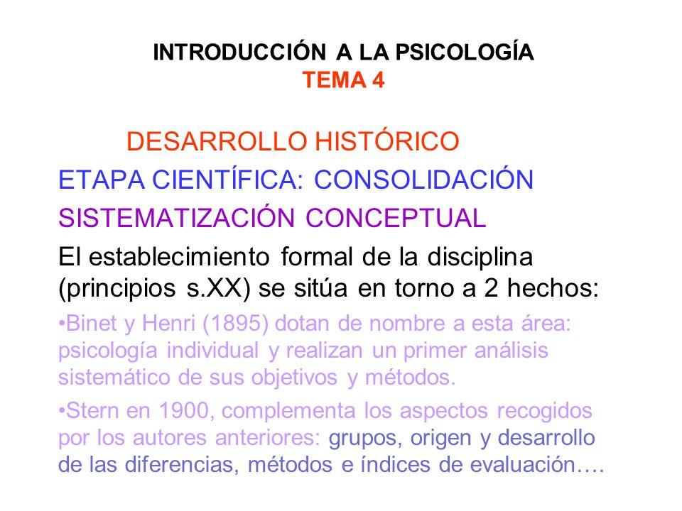 INTRODUCCIÓN A LA PSICOLOGÍA TEMA 4 DESARROLLO HISTÓRICO ETAPA CIENTÍFICA: CONSOLIDACIÓN SISTEMATIZACIÓN CONCEPTUAL El establecimiento formal de la di