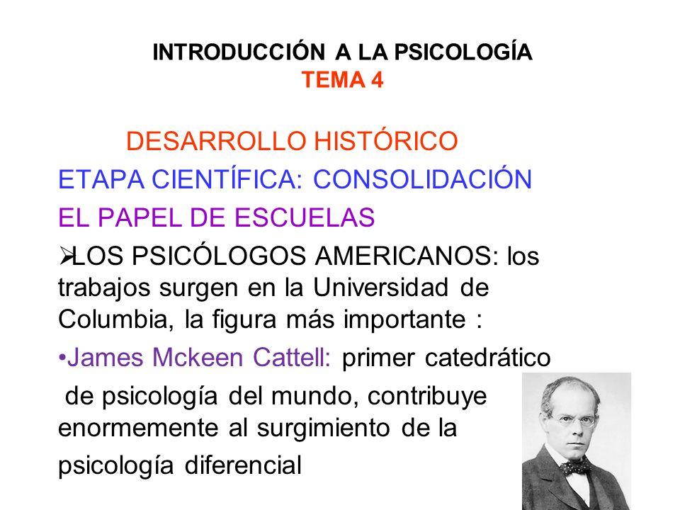 INTRODUCCIÓN A LA PSICOLOGÍA TEMA 4 DESARROLLO HISTÓRICO ETAPA CIENTÍFICA: CONSOLIDACIÓN EL PAPEL DE ESCUELAS LOS PSICÓLOGOS AMERICANOS: los trabajos