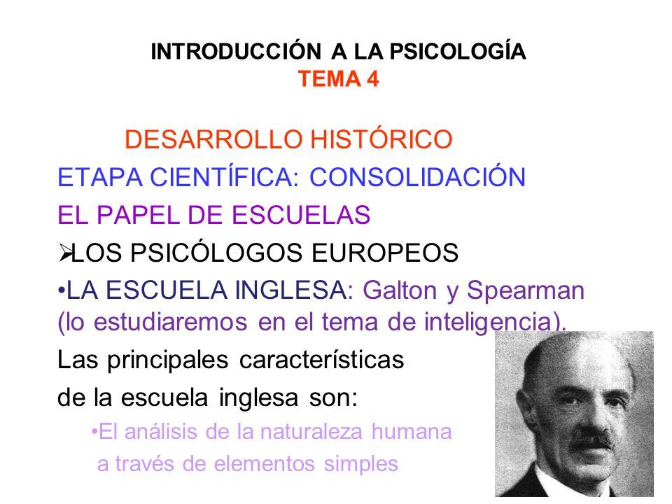 INTRODUCCIÓN A LA PSICOLOGÍA TEMA 4 DESARROLLO HISTÓRICO ETAPA CIENTÍFICA: CONSOLIDACIÓN EL PAPEL DE ESCUELAS LOS PSICÓLOGOS EUROPEOS LA ESCUELA INGLE