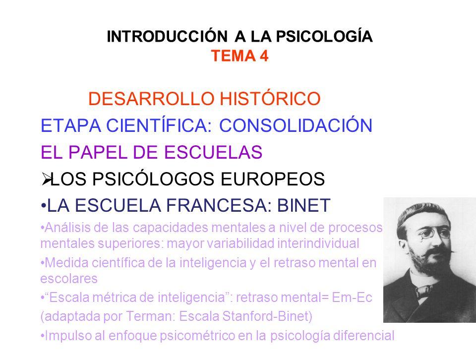 INTRODUCCIÓN A LA PSICOLOGÍA TEMA 4 DESARROLLO HISTÓRICO ETAPA CIENTÍFICA: CONSOLIDACIÓN EL PAPEL DE ESCUELAS LOS PSICÓLOGOS EUROPEOS LA ESCUELA FRANC