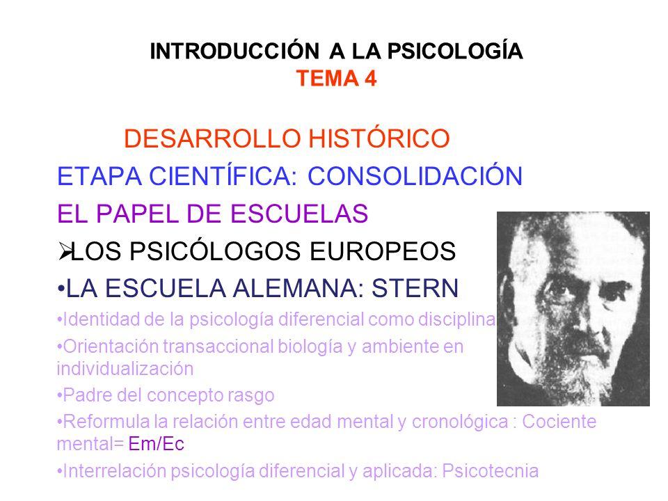 INTRODUCCIÓN A LA PSICOLOGÍA TEMA 4 DESARROLLO HISTÓRICO ETAPA CIENTÍFICA: CONSOLIDACIÓN EL PAPEL DE ESCUELAS LOS PSICÓLOGOS EUROPEOS LA ESCUELA ALEMA