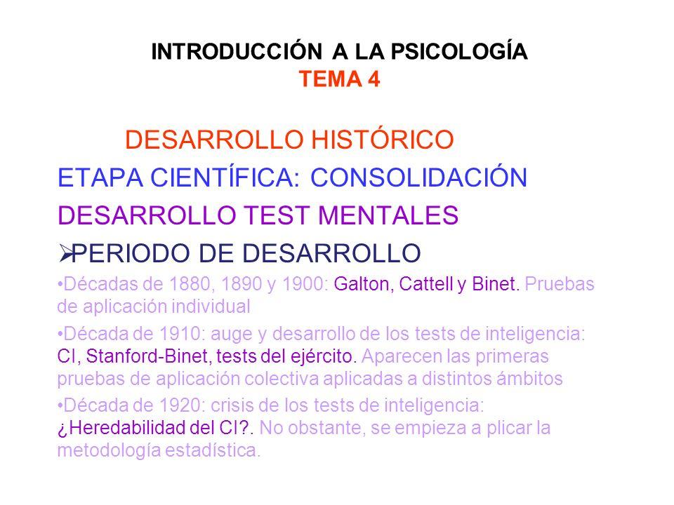 INTRODUCCIÓN A LA PSICOLOGÍA TEMA 4 DESARROLLO HISTÓRICO ETAPA CIENTÍFICA: CONSOLIDACIÓN DESARROLLO TEST MENTALES PERIODO DE DESARROLLO Décadas de 188