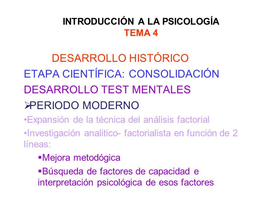 INTRODUCCIÓN A LA PSICOLOGÍA TEMA 4 DESARROLLO HISTÓRICO ETAPA CIENTÍFICA: CONSOLIDACIÓN DESARROLLO TEST MENTALES PERIODO MODERNO Expansión de la técn