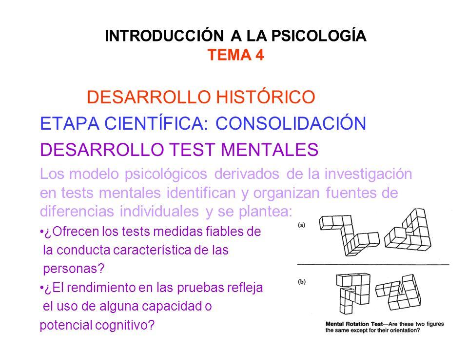 INTRODUCCIÓN A LA PSICOLOGÍA TEMA 4 DESARROLLO HISTÓRICO ETAPA CIENTÍFICA: CONSOLIDACIÓN DESARROLLO TEST MENTALES Los modelo psicológicos derivados de